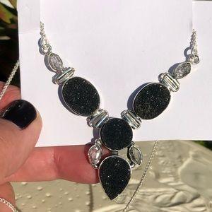 Herkimer Black Druzy Sterling Silver Necklace